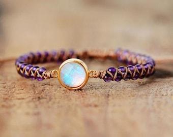 Amethyst Healing Bracelet-Opal Spiritual Energy Protection Bracelet-Natural Stone Yoga Friendship Bracelet-Meditation Balance Bracelet Gift