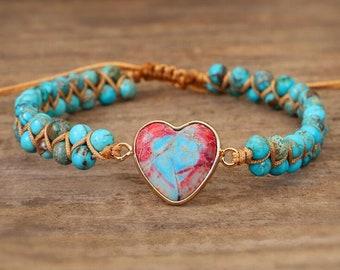 Blue Sea Sediment Grounding Bracelet-Healing Balancing Calming Bracelet-Spiritual Protection Meditation Anxiety Stress Relief Bracelet