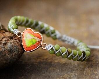 Natural Green Jade Heart Healing Grounding Bracelet-Balancing Calming Spiritual Protection Meditation Anxiety Stress Relief Bracelet Gift