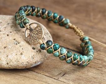 Natural Stone Healing Bracelet-Tree of Life Charm Bracelet-African Jasper Beadss Braided Friendship Bracelet-Family Tree Spiritual Reiki