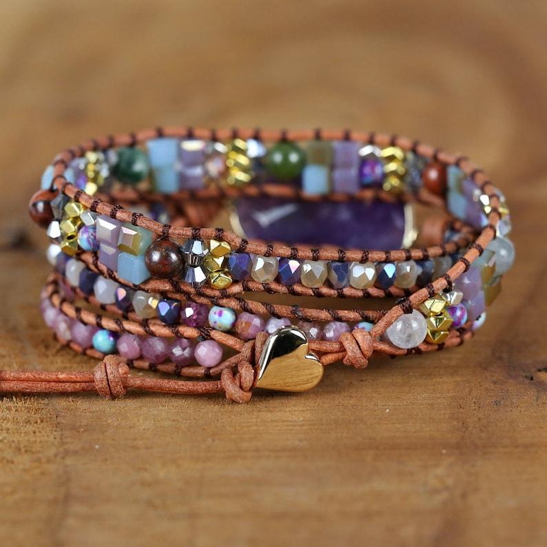 Amethyst Bracelet-Meditation Spiritual Balance Bracelet Mental Health Gift-Natural Healing Stone Bracelet-Purple Gemstone Crystal Bracelet