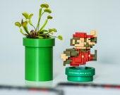 Warp Pipe Tube Planter - Super Mario 3D Printed | Retro Home / Office Decor | Built in removable water catcher
