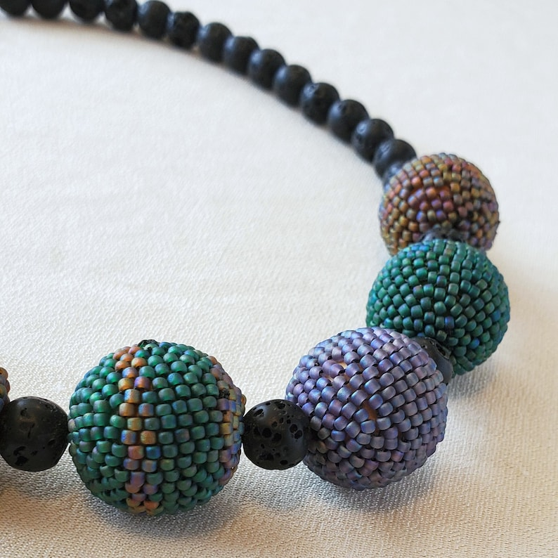Beaded Beads and Lava Stone Necklace