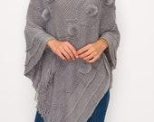 Vintage Southwest Style Fur Pom Pom Fringed Acrylic Pullover Sweater Poncho Turtleneck Shawl for Women