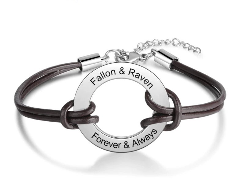 Customized Stainless Steel Circle Bracelets for Women Men Personalized Engraved Name Leather Bracelet Jewelry Gifts