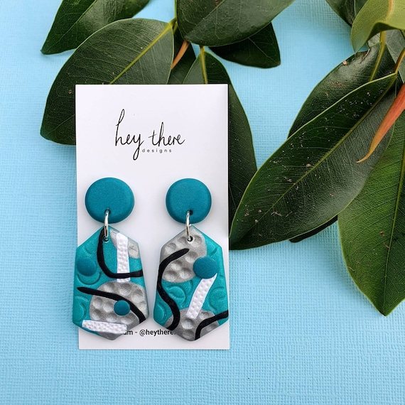 Blue drop studs earrings polymer clay patterned earrings handmade blue shimmer color gift for her