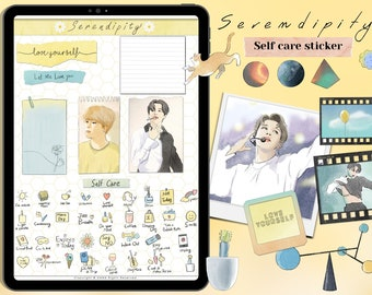 BTS ,Jimin Serendipity Self Care Digital Stickers, GoodNotes stickers,Pre-cropped Digital Planner Stickers,Mental Health,Self Love