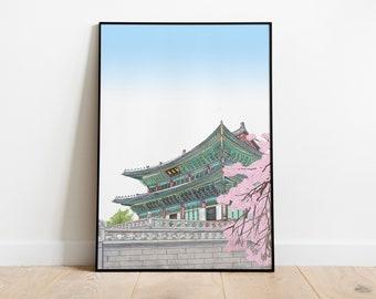 beautiful royal palace in South Korea,Gyeongbokgung - printable korea poster