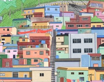 Colorful house of  Korea - Painting Art Print