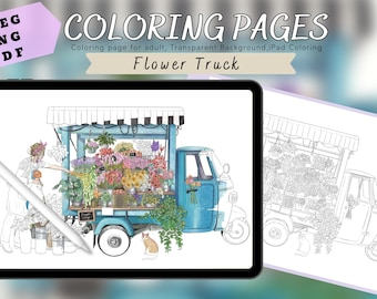 Beautiful flower truck - Printable coloring pages for adults, building coloring sheets, PNG,PDF,JPEG,Landscape coloring pages