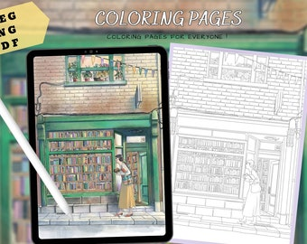 A small bookstore on the street-Printable Coloring Pages