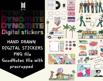 BTS -Dynamite Inspired digital stickers for GoodNotes, Decorative sticker