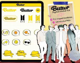 BTS -Butter Inspired stickers for GoodNotes ,BTS digital sticker,Butter printable,Kpop Stickers,BTS clipart