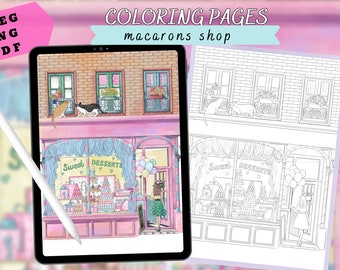 Sweet Macaroons shop - printable coloring pages for adults, building coloring sheets, PNG,PDF,JPEG,landscape coloring page