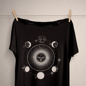 Sun Moon Stars Witch Shirt Crop Tank Top Gothic Shirt Goth Shirt Wiccan Clothing Pagan Clothing Witch Clothing Esoteric Astronomy