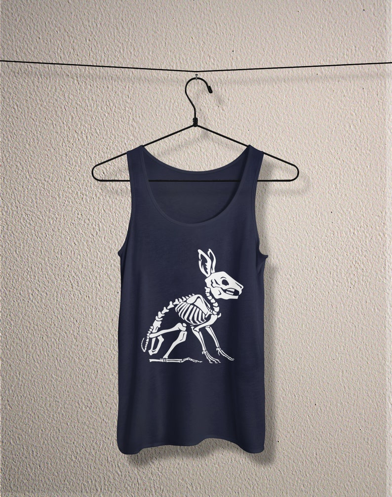 Creepy cute rabbit skeleton jersey death metal Goth tank top gothic witch horror unisex witchy pastel pagan frankenstein aesthetic tee