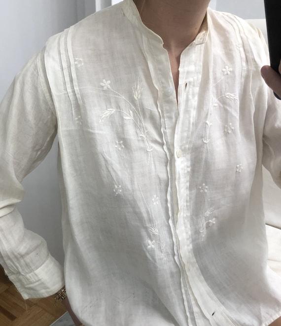 Rare Antique Edwardian Embroidered Shirt — antiqu… - image 2