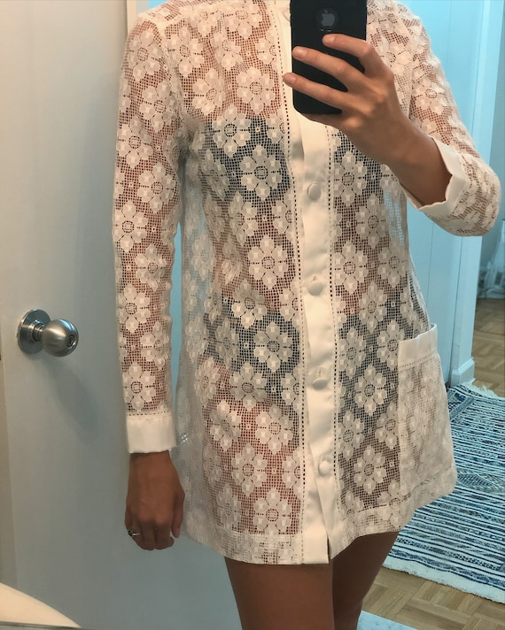 VINTAGE CHRISTIAN DIOR Lace Shirtdress — vintage D