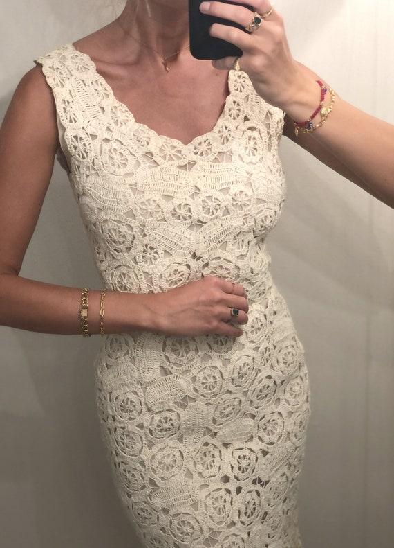 RARE VINTAGE ITALIAN Crochet Raffia Dress  — vinta