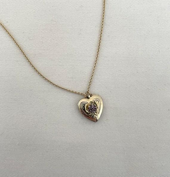 ANTIQUE VICTORIAN 14K Gold Amethyst Heart Locket —