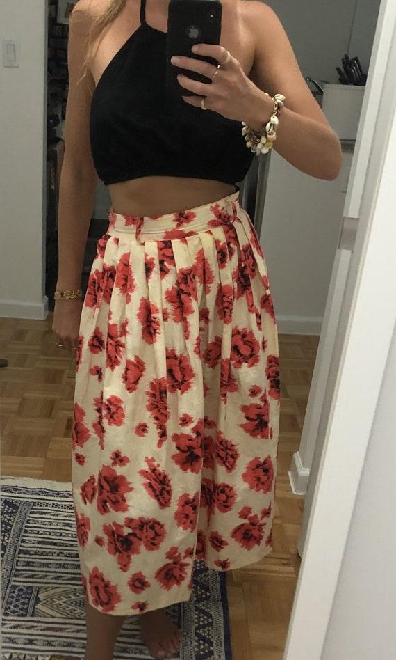 1950s FLORAL FULL SKIRT — 1950s skirt — vintage sk