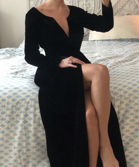 1970s Mollie Parnis Black Velvet Wrap Dress — vint