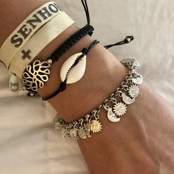 Vintage Sterling Silver Charm Bracelet     — vint… - image 1