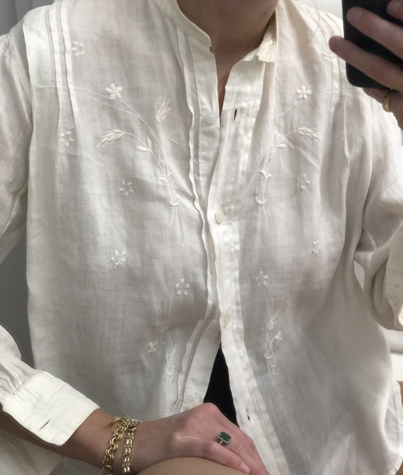 Rare Antique Edwardian Embroidered Shirt — antiqu… - image 4