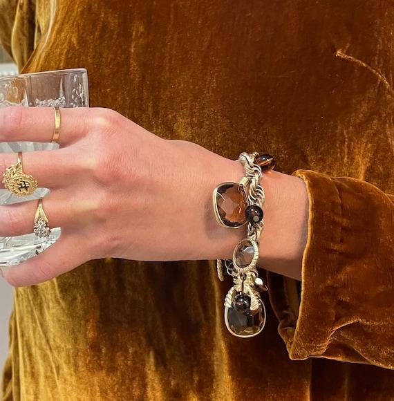 Vintage Gem Charm Bracelet — chunky 1970s gem cha… - image 8