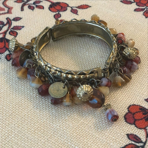 VINTAGE HANDMADE Cuff With Charms  — antique India