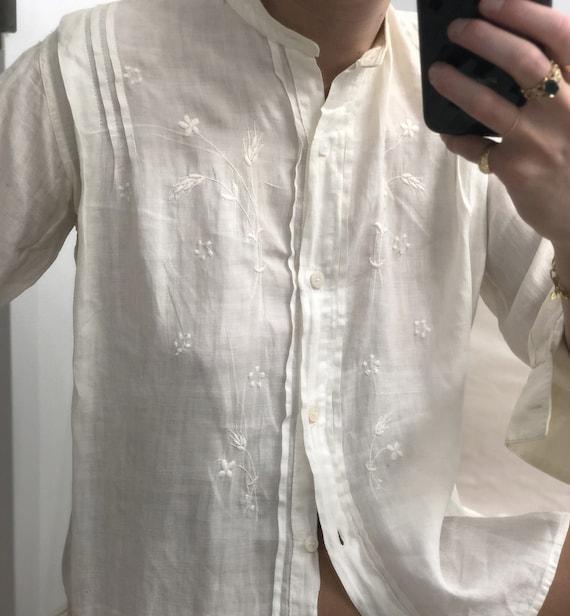 Rare Antique Edwardian Embroidered Shirt — antiqu… - image 5