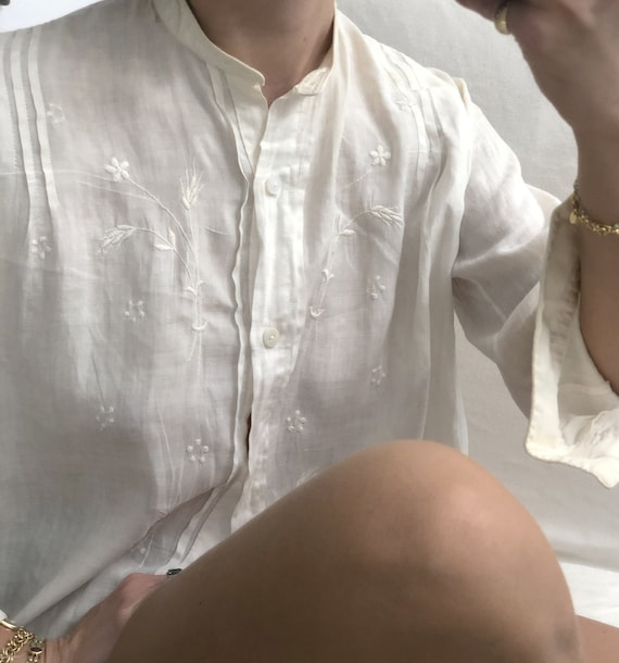 Rare Antique Edwardian Embroidered Shirt — antiqu… - image 7