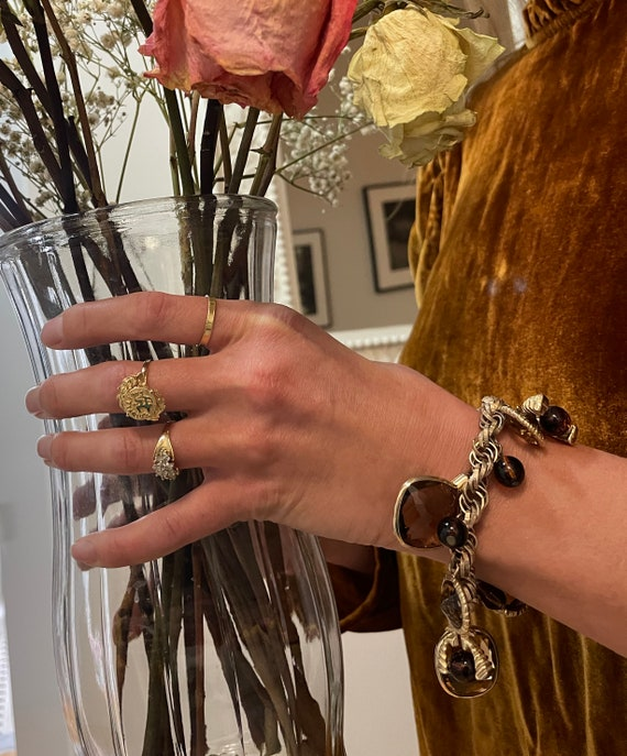 Vintage Gem Charm Bracelet — chunky 1970s gem cha… - image 7