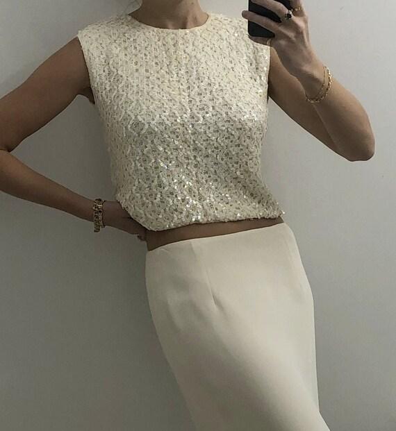 Vintage 1960s Embellished Cream Knit — vintage seq