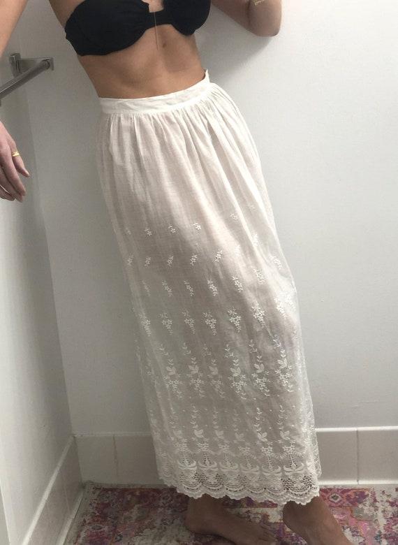 Antique Edwardian Embroidered Lawn Skirt — antiqu… - image 5