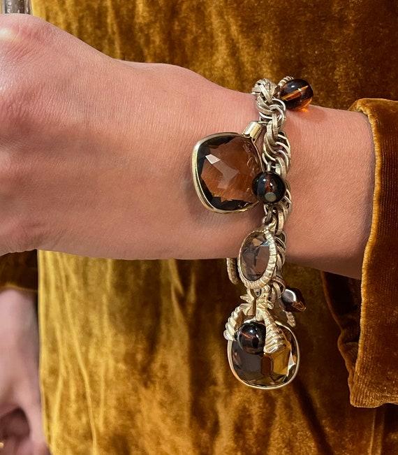 Vintage Gem Charm Bracelet — chunky 1970s gem cha… - image 5