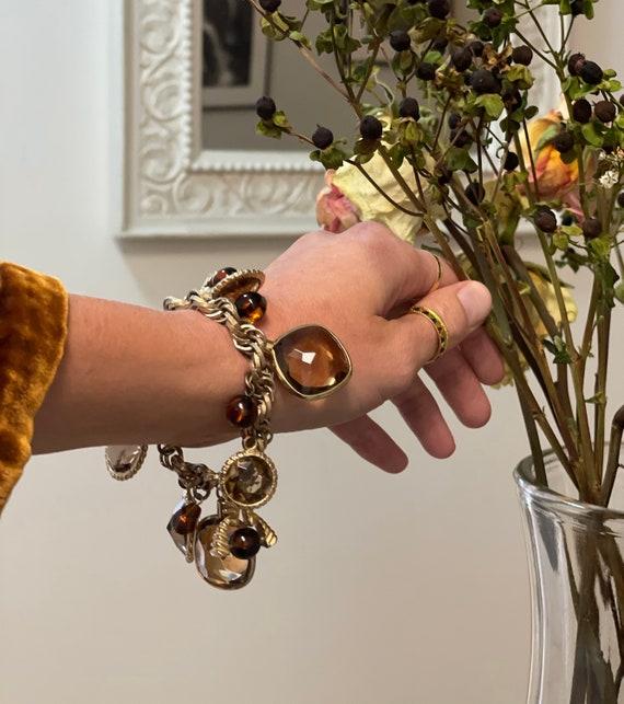 Vintage Gem Charm Bracelet — chunky 1970s gem cha… - image 1