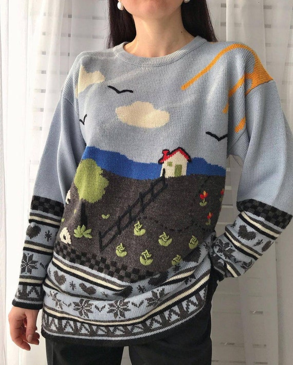 Vintage novelty sweater/hand knitted scenic sweat… - image 3