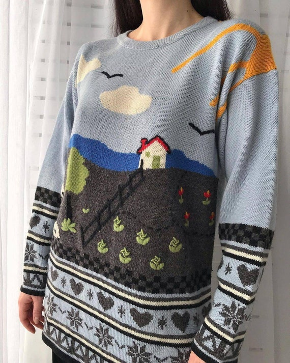 Vintage novelty sweater/hand knitted scenic sweat… - image 5