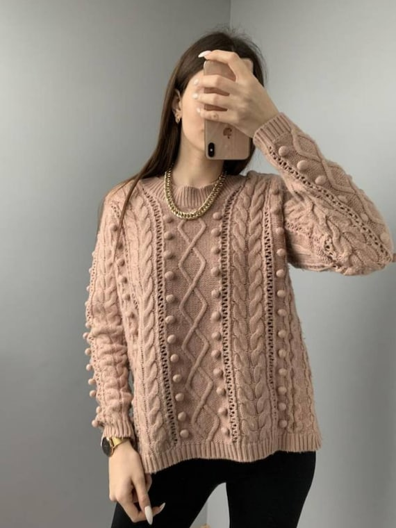 BURBERRY sweater popcorn knit/knitted sweater/peac