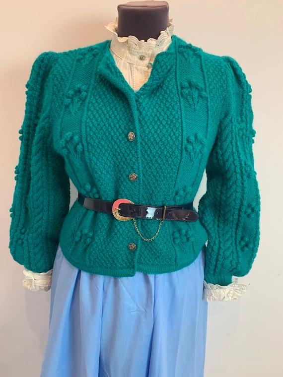 Vintage cardigan popcorn knit puff sleeves/hand kn