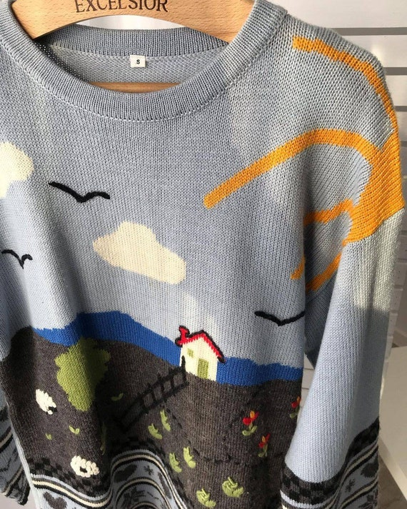 Vintage novelty sweater/hand knitted scenic sweat… - image 7