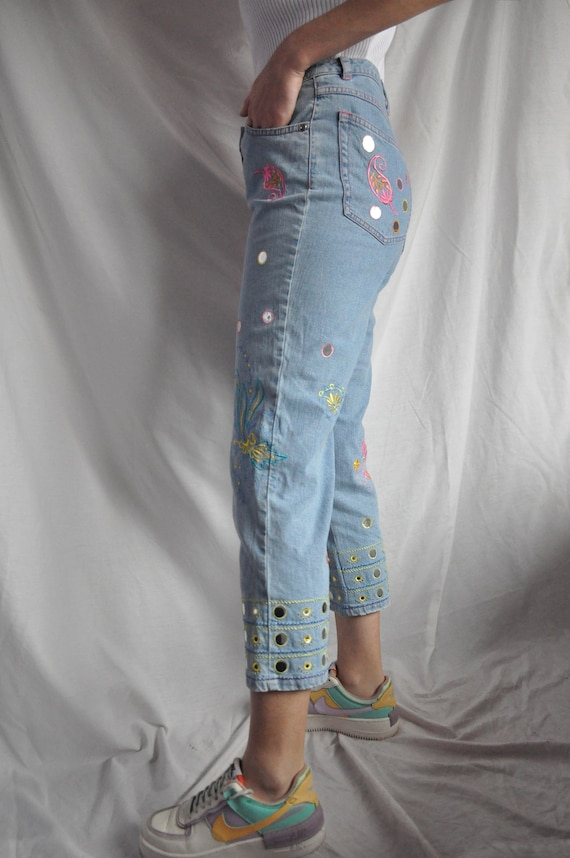 Escada jeans/embroidered hippie jeans