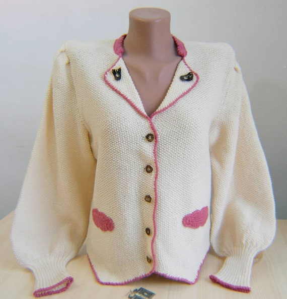 Hand knitted vintage cardigan puff sleeves