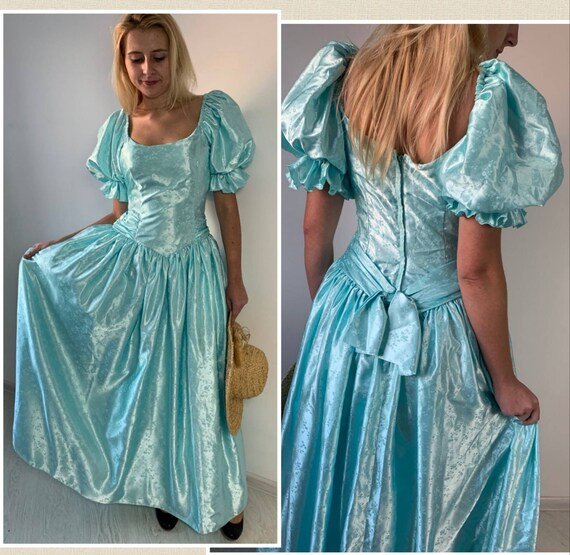 Ball gown dress/Victorian dress puff sleeves/Edwar