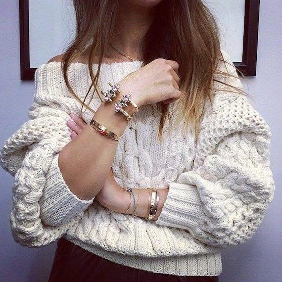Hand knit ruban white sweater wool cashmere blend/
