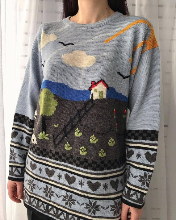 Vintage novelty sweater/hand knitted scenic sweat… - image 2