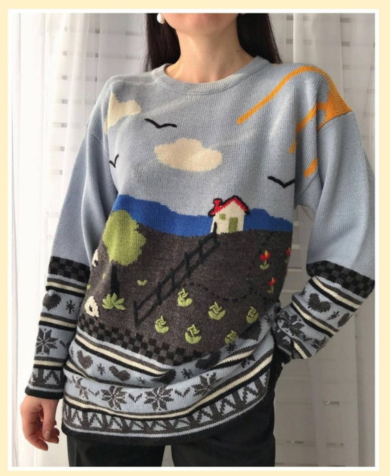 Vintage novelty sweater/hand knitted scenic sweat… - image 1