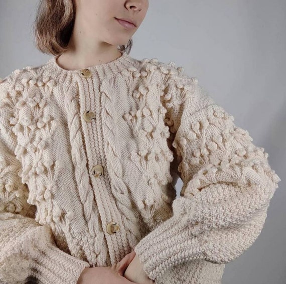Vintage cardigan puff sleeves/trachten jacket/Aust