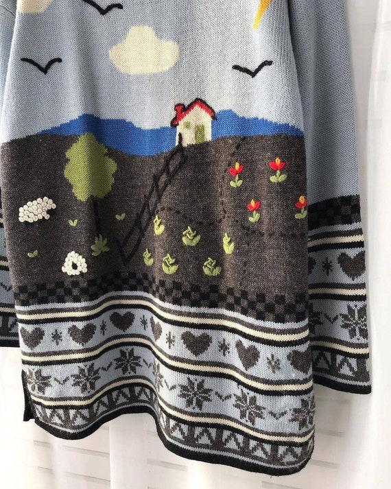Vintage novelty sweater/hand knitted scenic sweat… - image 4